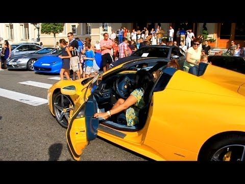 Yellow Ferrari 458 Italia Spider Driven By Girls From Kuwait In Cannes And  Monaco.