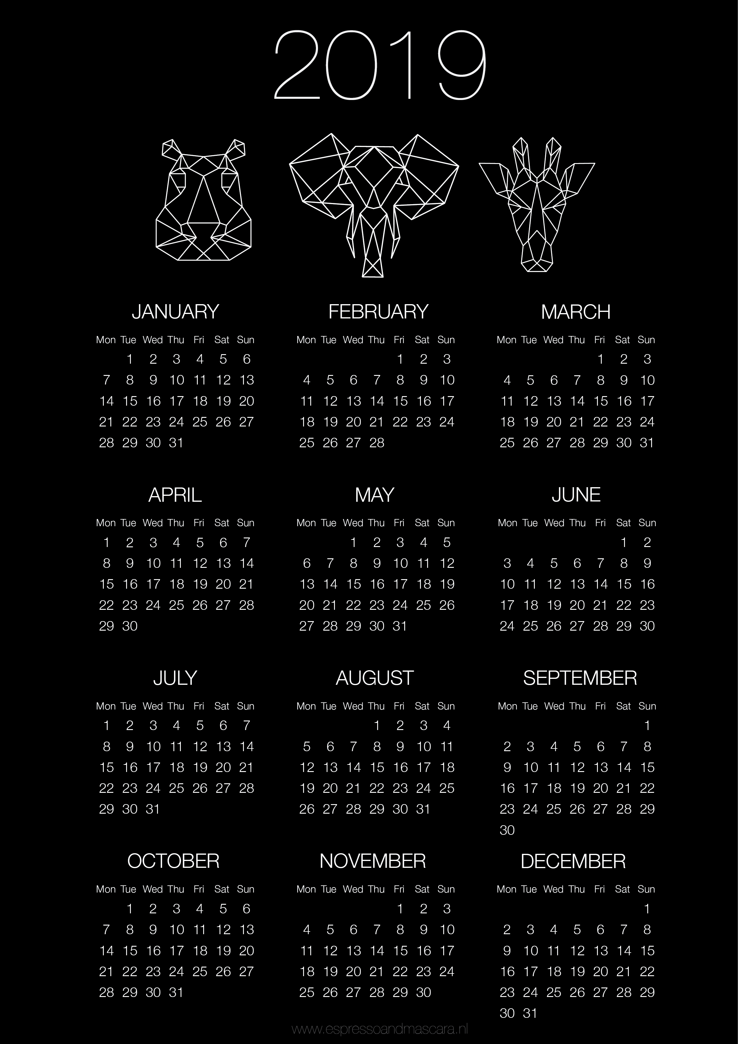 Calendar template 2019 - download free printable - Espresso&Mascara