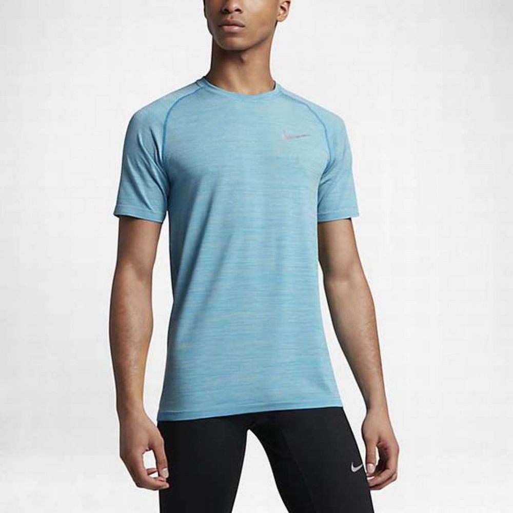 34faca8763a6db Nike Dri-Fit Knit SS Mens Running Shirt NEW 833562 042 Vivid Sky Pale Grey  sz XL  Nike  ShirtsTops