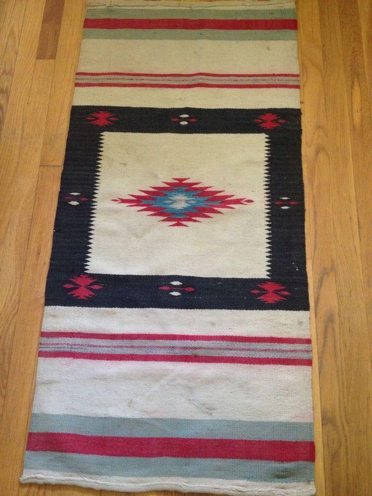 Antique Navajo Rug Runner Saddle Blanket Tapestry Native American Ebay