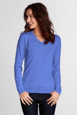 ebe753d1d10 Womens Performance Long Sleeve Fine Gauge V-neck Sweater from Lands ...