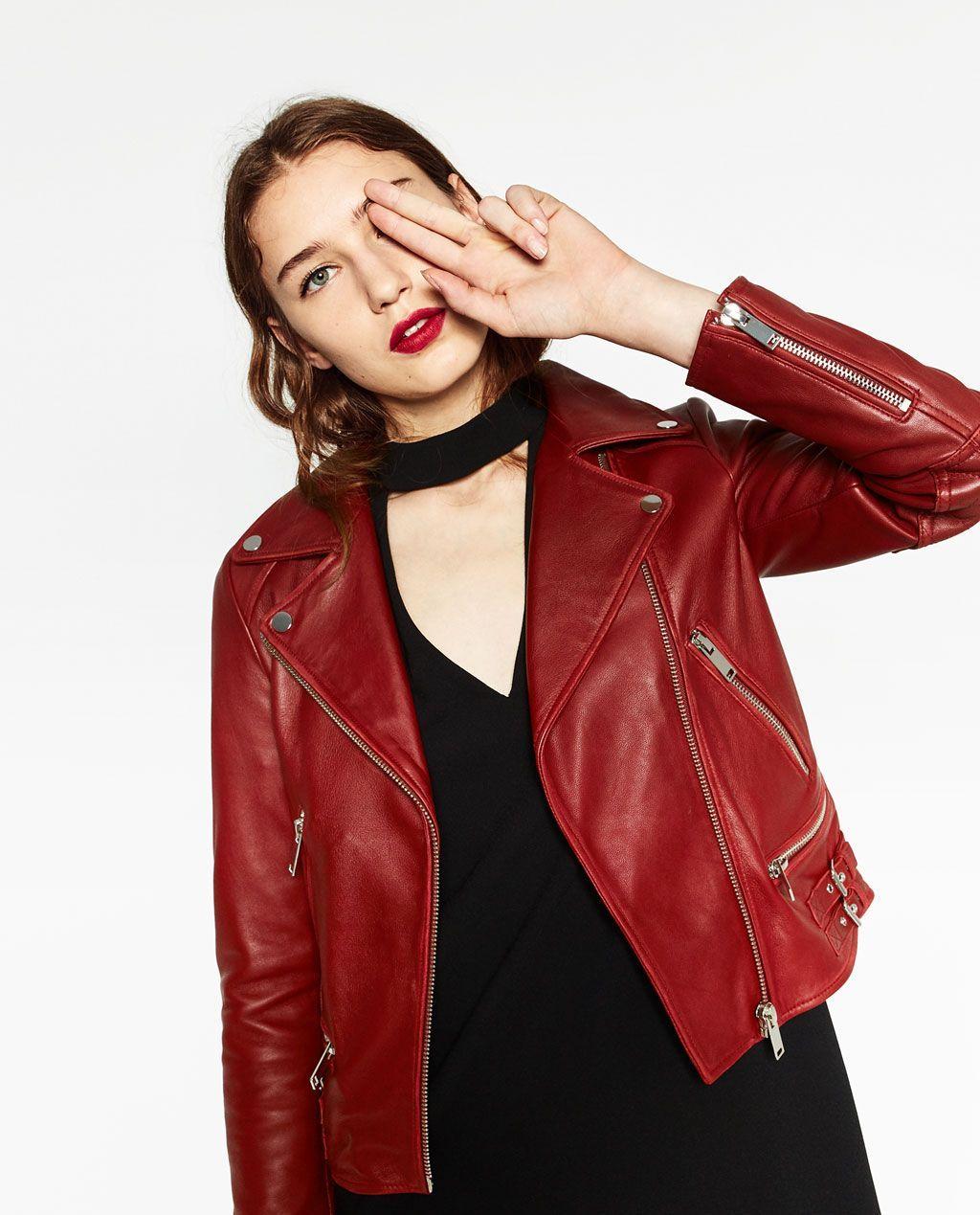 ZaraBusos Jackets Cuero Chaqueta De Outerwear Roja dQrotChBsx