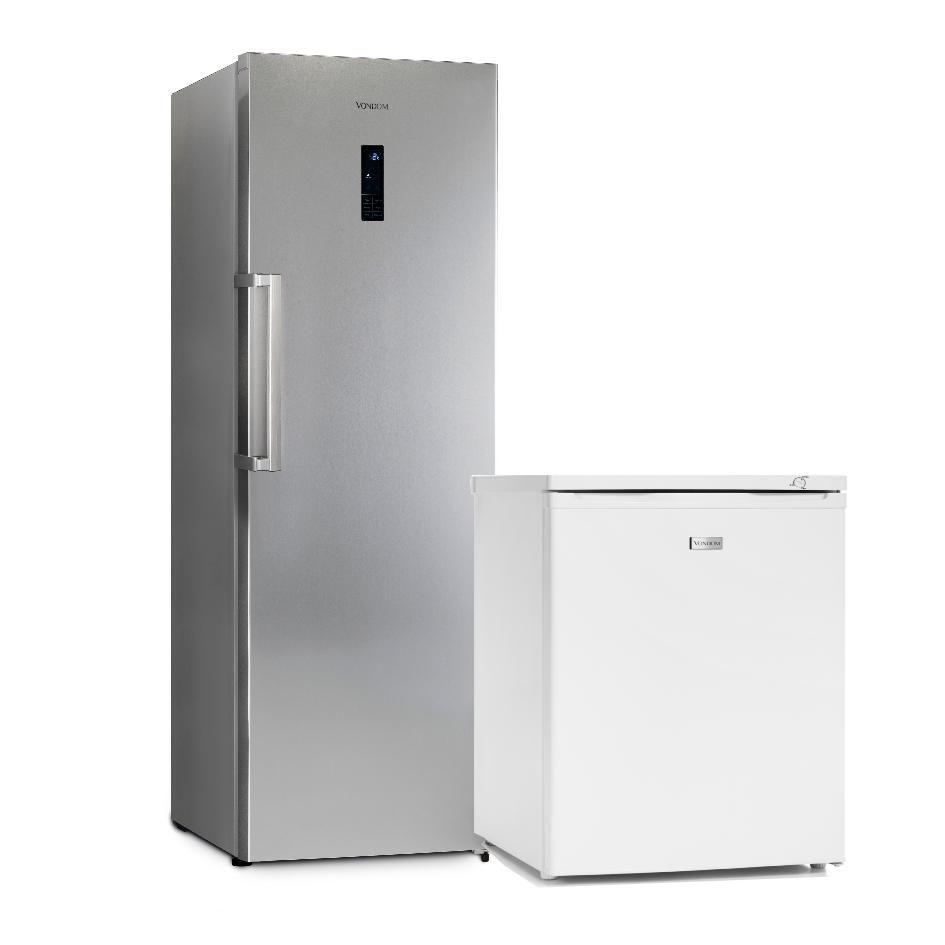 Heladera 360 lts. Acero mas Freezer Bajo Mesada 85 lts. Blanca
