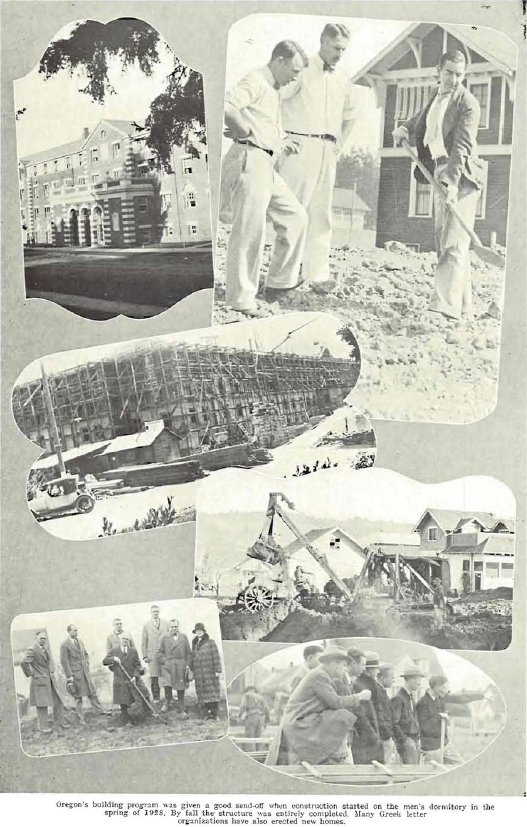 Construction of the men's dormitory 1928.  From the 1929 Oregana (University of Oregon yearbook).  www.CampusAttic.com