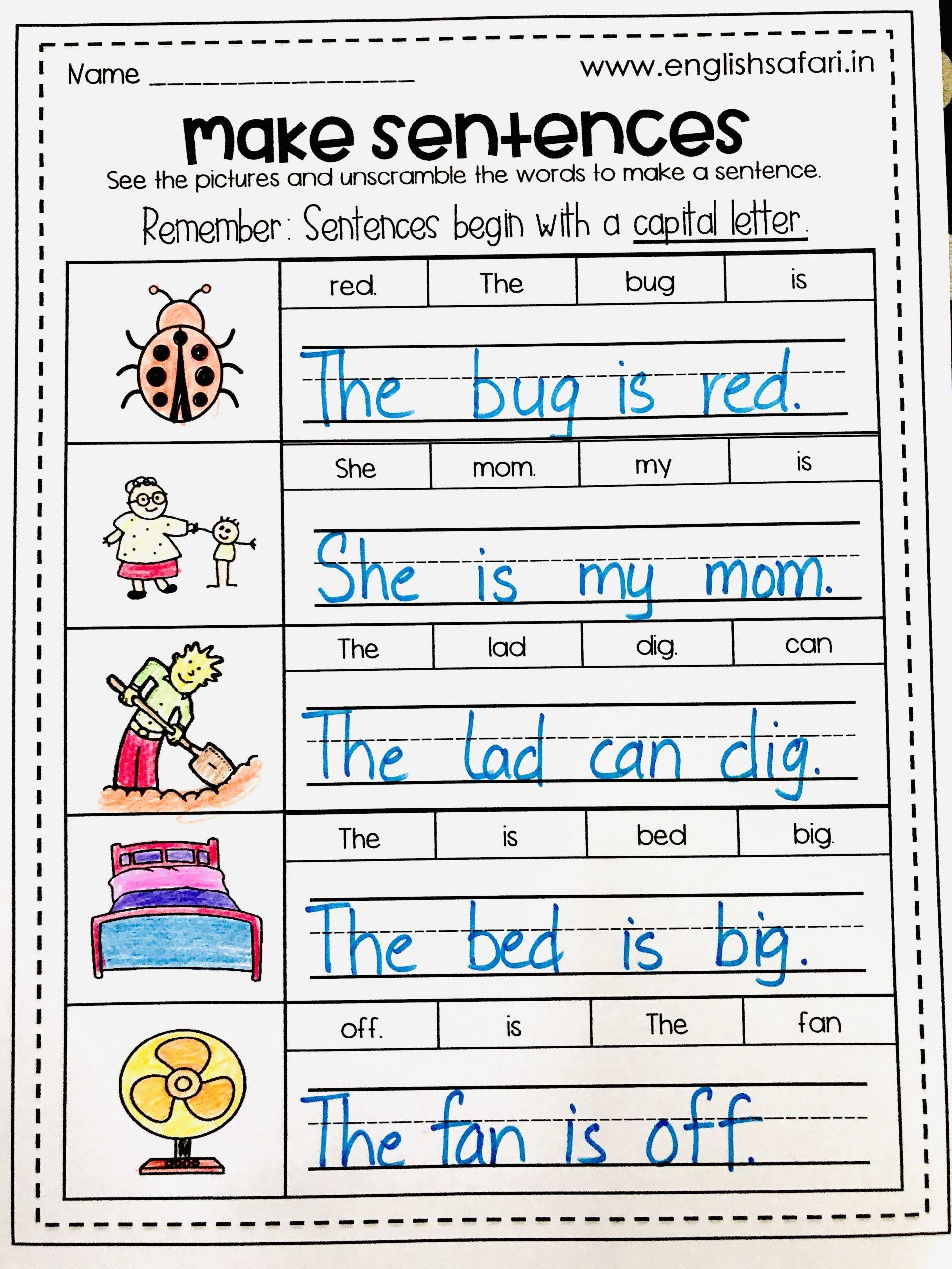 Unscramble Sentences Worksheets 1st Grade In
