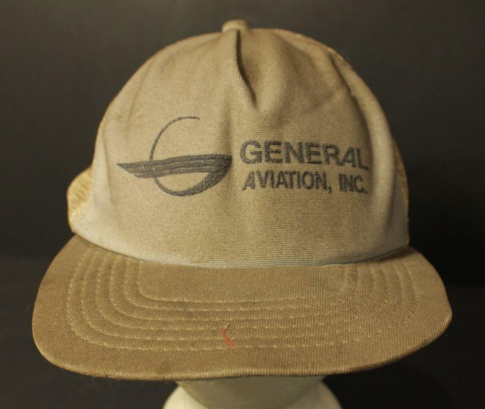 a30d8d86677 Vintage General Aviation Inc Mesh Trucker Hat Cap Snapback New Era USA Made   NewEra