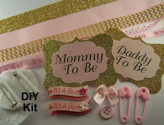 DIY Mommy To Be and Daddy To Be Badge Kit Make Your Own Baby Shower