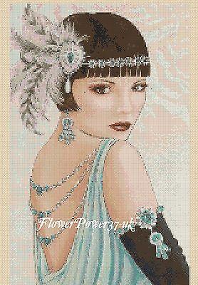 Cross stitch chart  Art Deco Lady 14 Flowerpower37-uk.-.free uk P/&p..
