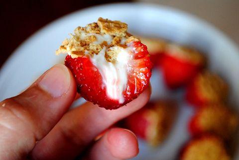 Cheesecake Stuffed Strawberries by iowagirleats #Strawberries #Cheesecake #iowagirleats