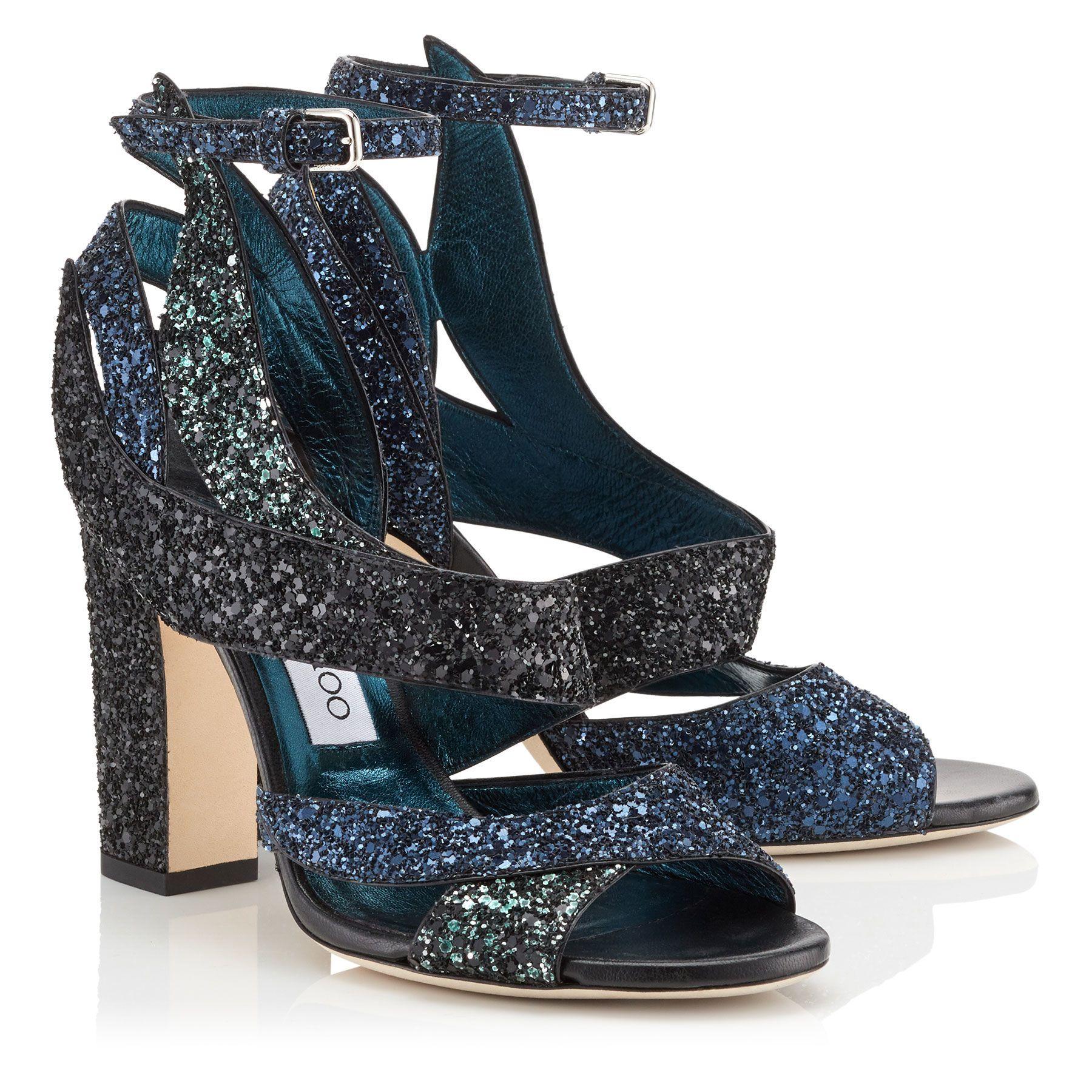 e992b834585 Navy Coarse Glitter Fabric Sandals