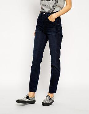 19b351276e6a9 ASOS Farleigh High Waist Slim Mom Jeans in Heather Blue Black Jeans De  Cintura Alta Baratos