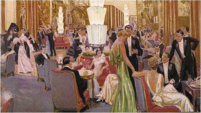 NORMANDIE GRAND SALON, circa 1935, Richard Bouwens and Roger Expert, illustration | L'Arte Deco ...