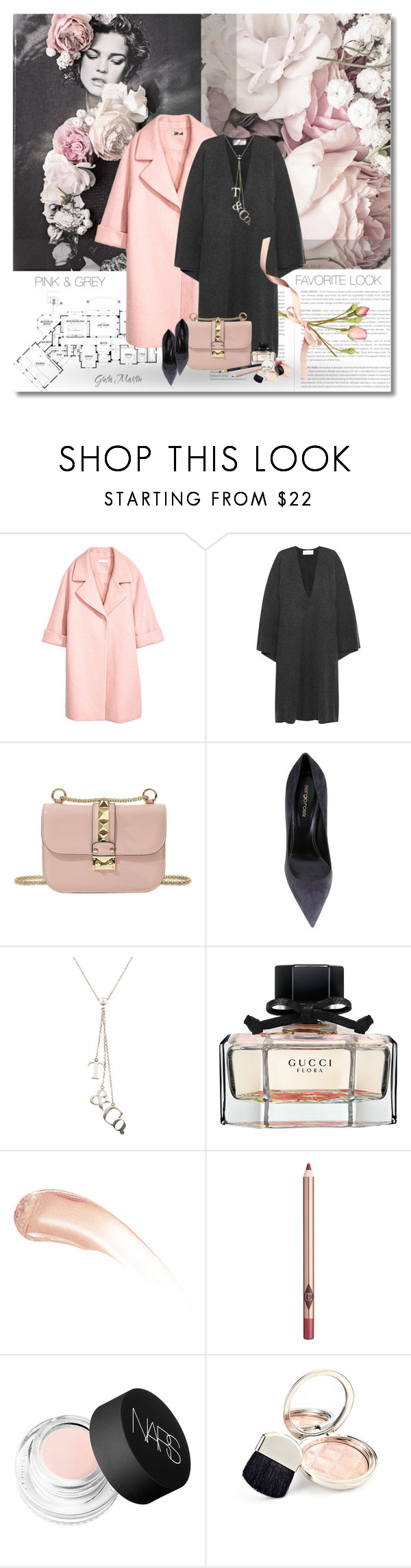 """Pink & Grey ... Favorite Look ... Fall 2016"" by greta-martin ❤ liked on Polyvore featuring Chanel, H&M, Chloé, Valentino, Sergio Rossi, Tiffany & Co., Gucci, Wander Beauty, Charlotte Tilbury and NARS Cosmetics"
