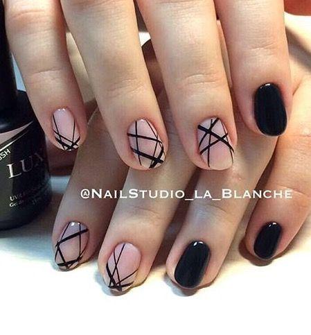 pinaia kostin on nails  natural nail designs black