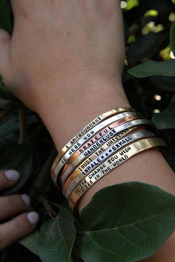 Custom Hand Stamped Bracelet Cuff Mantra