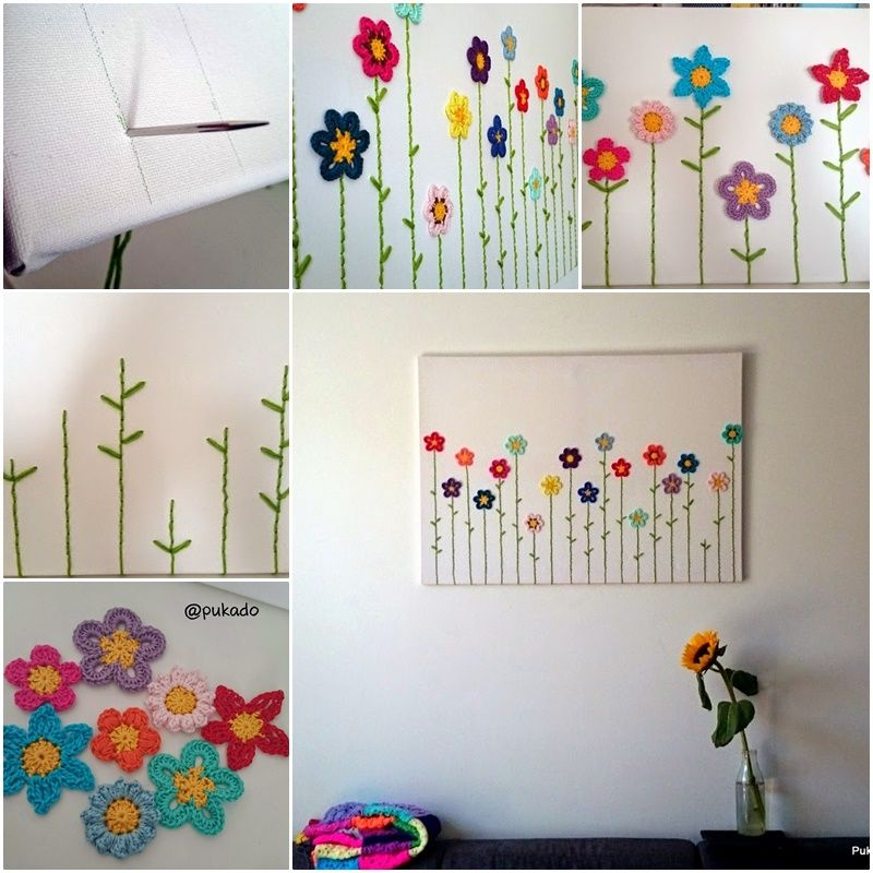 DIY Lovely Crochet Flowers on Canvas with Pattern | Pasión ...