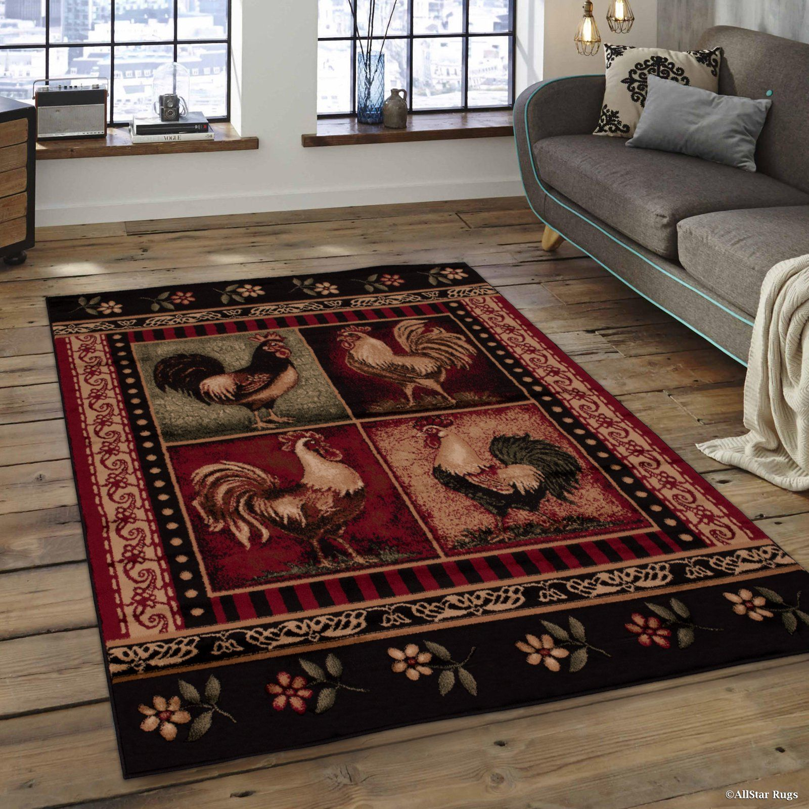 Brown And Red With Four Collated Rooster Images And Floral Frame Area Rug 5 2 X 7 2 Walmart Com Red Area Rug Rugs On Carpet Area Rugs