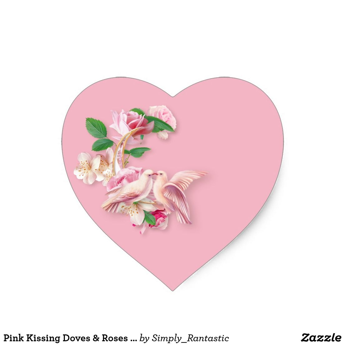 Pink Kissing Doves & Roses Heart Stickers | Wedding Collection ...
