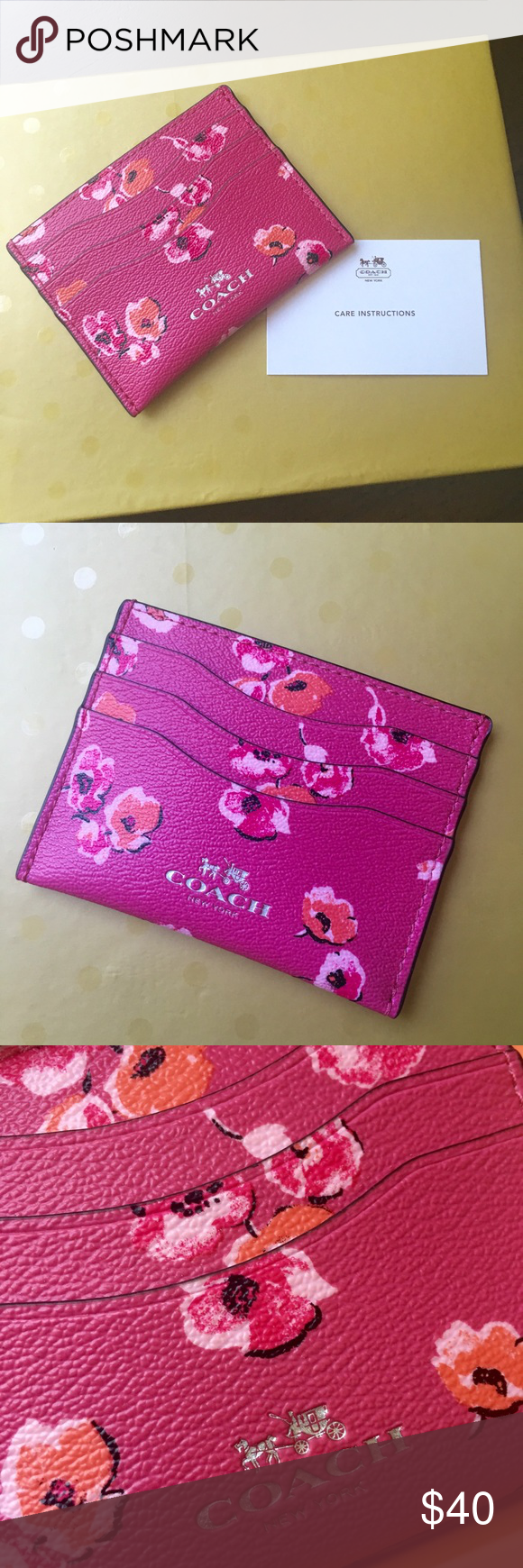 Coach Floral Card Case Accepting Reasonable Offers ✨ Brand New; Coach  Wildflower Card Case *
