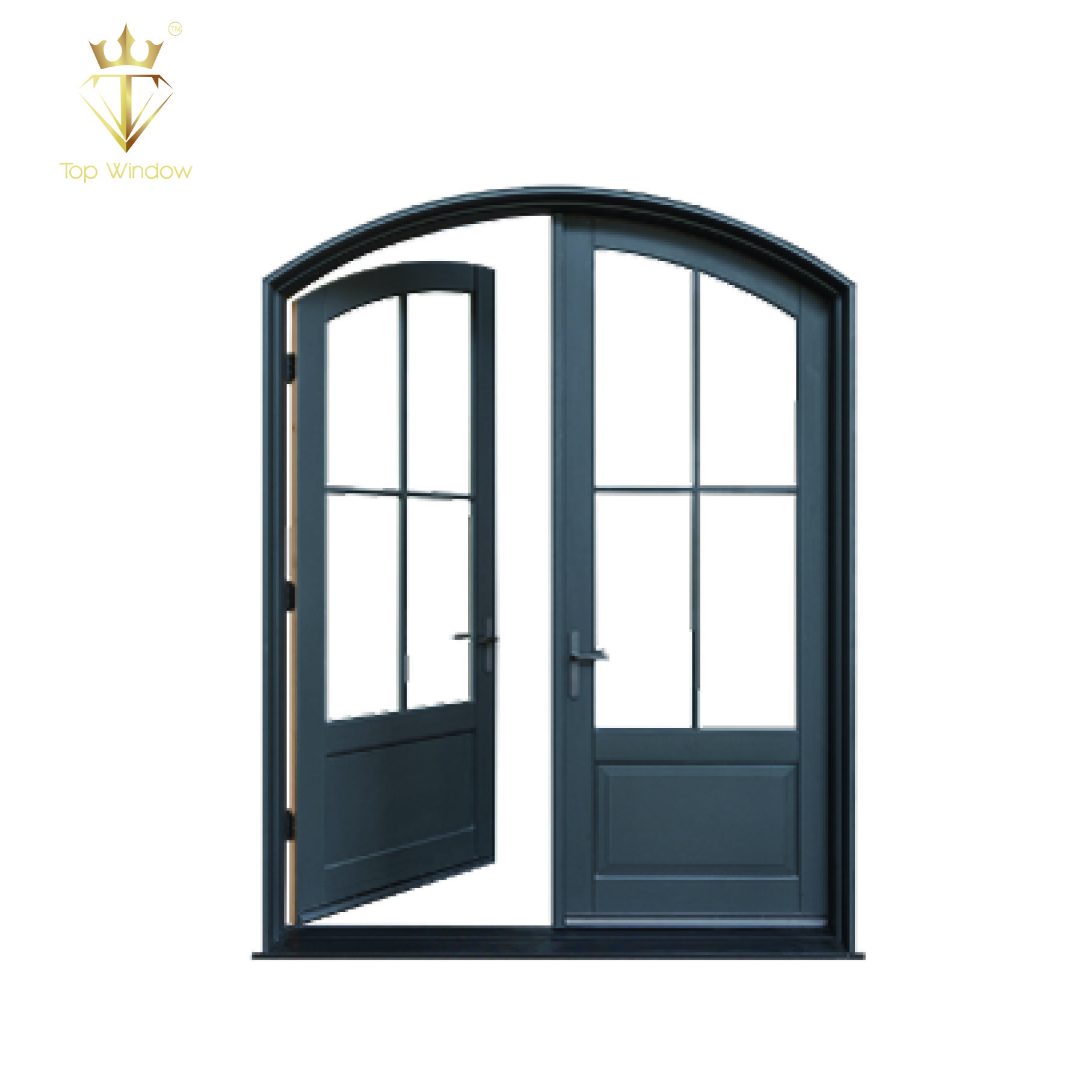 2019 Fashion Arch Aluminum Big Glass Grilled Designment French Entry Door Aluminum French Doors Pocket Door Frame