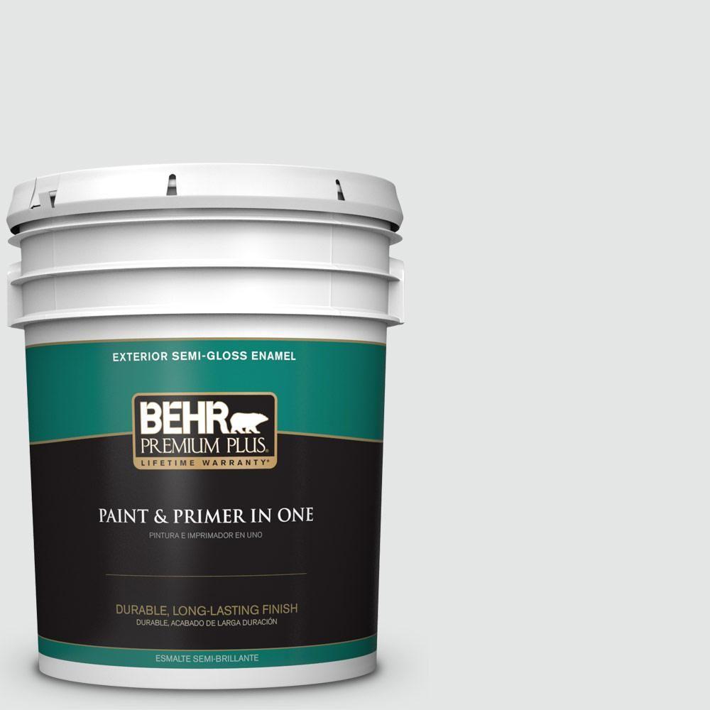 BEHR Premium Plus 5 gal. #PPU26-13 Silent White Semi-Gloss Enamel Exterior Paint