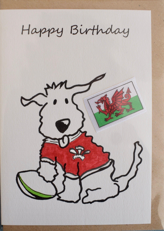 Birthday Card Wales Rugby Dog Greetings Card Animal Etsy Funny Birthday Cards Birthday Greetings Funny Birthday Cards