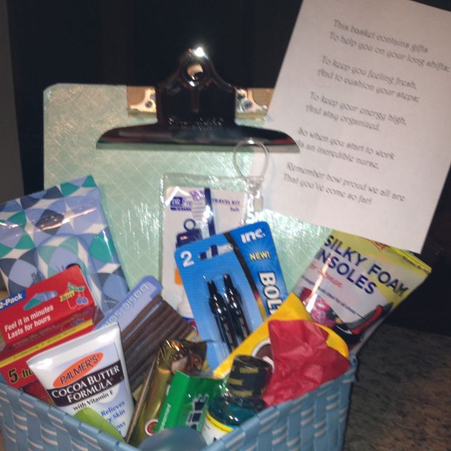 Nurse grad gift. This basket contains gifts to help you on long ...