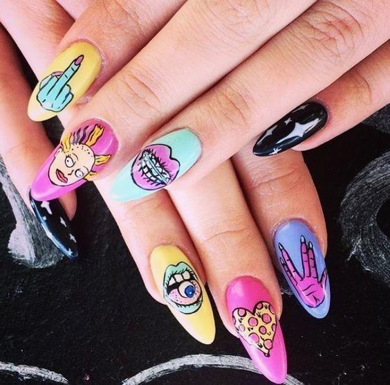 90s Inspired Long Acrylic Nails Cartoon Nail Designs Nail Art