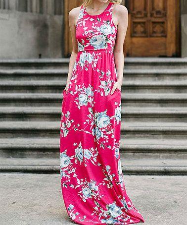 a544706ed22 jardin by macris love this Hot Pink   Blue Floral Pocket Sleeveless Maxi  Dress on  zulily!  zulilyfinds