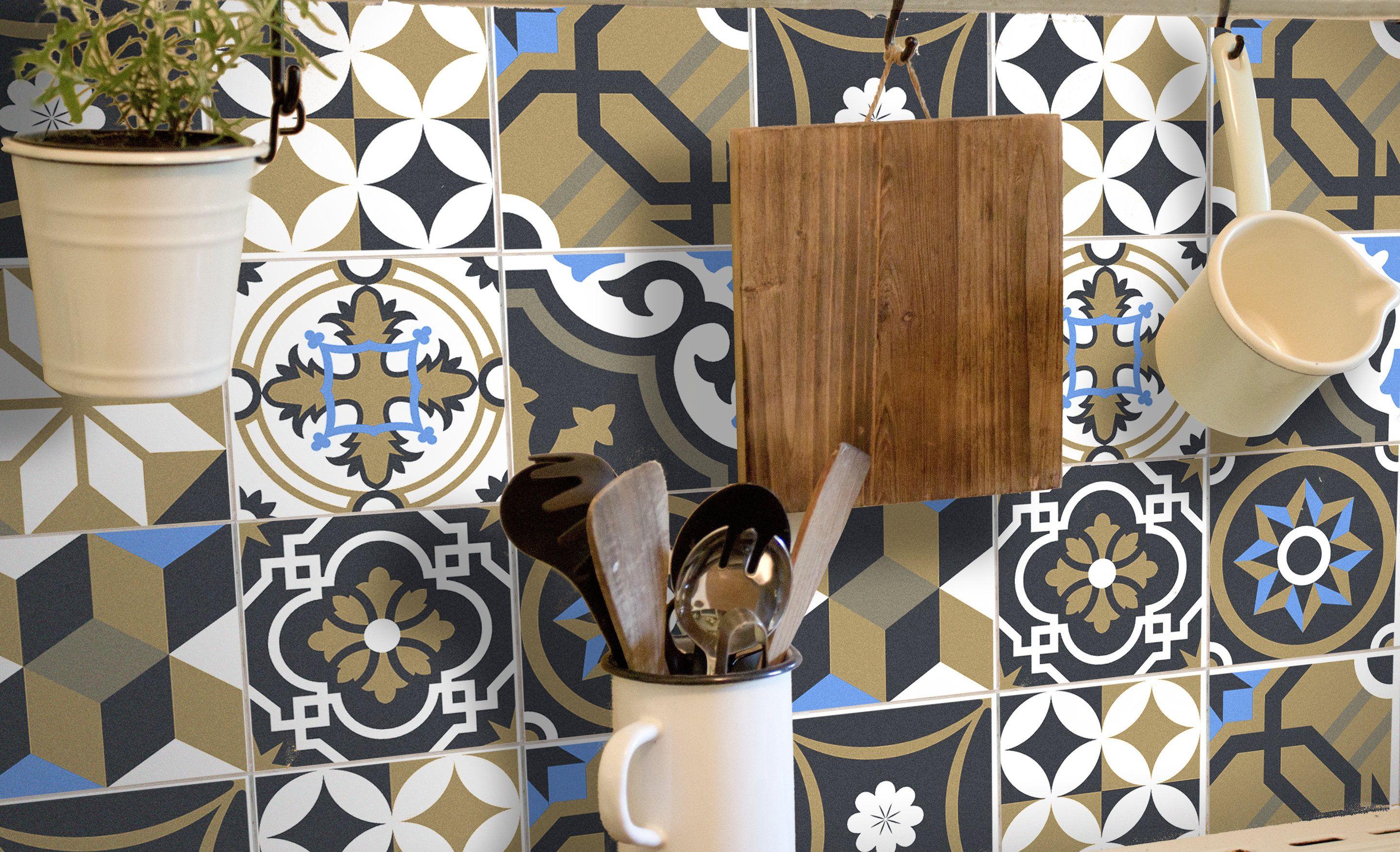 Tile Decals Tile Sticker Vinyl Tiles Kitchen Tile Decals Patchwork Portuguese Fliesenfolie Wandfarbe Kuche Fliesenaufkleber