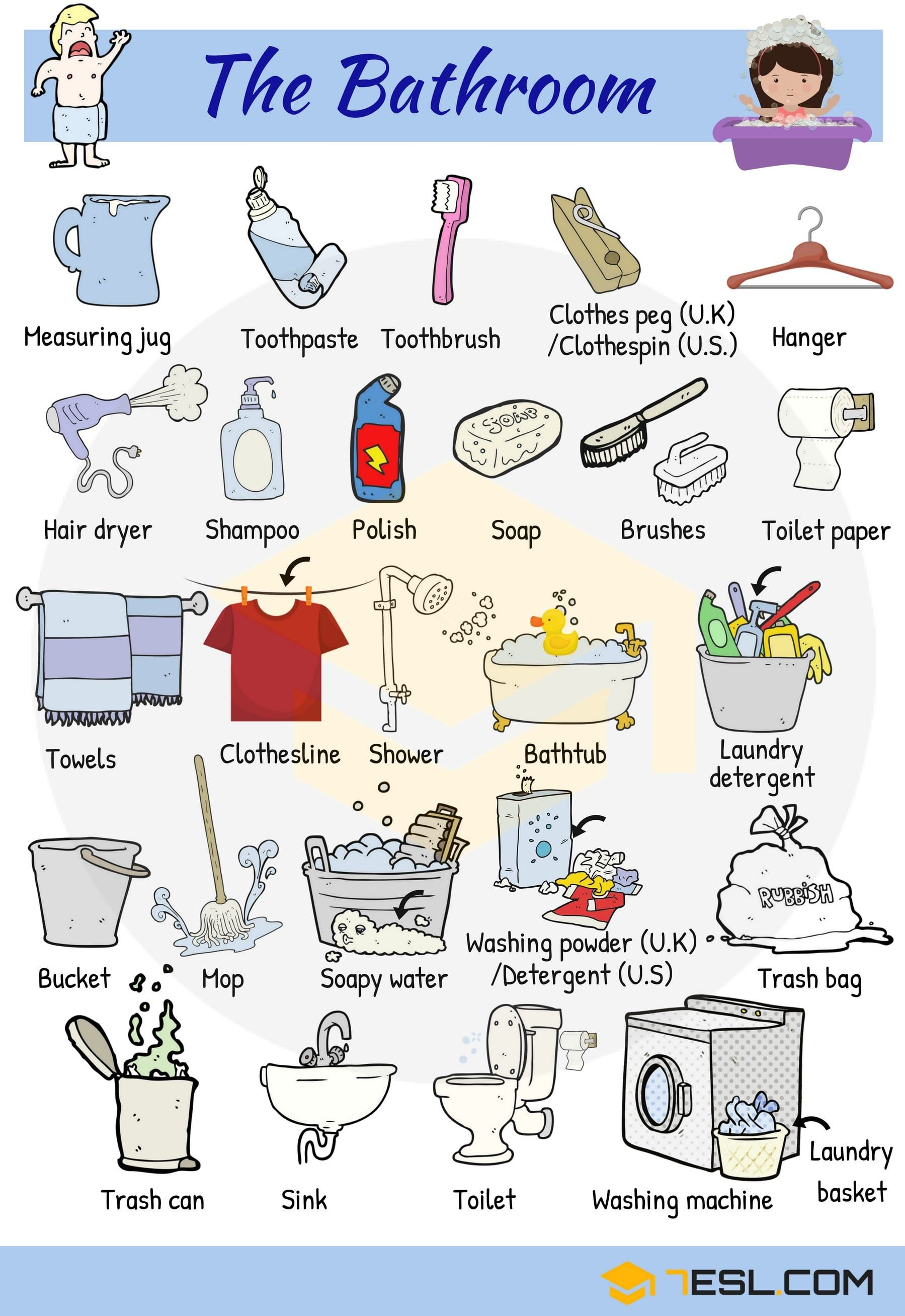 Bathroom Vocabulary Bathroom Accessories Furniture 7esl English Vocabulary English Language Learning Learn English Vocabulary