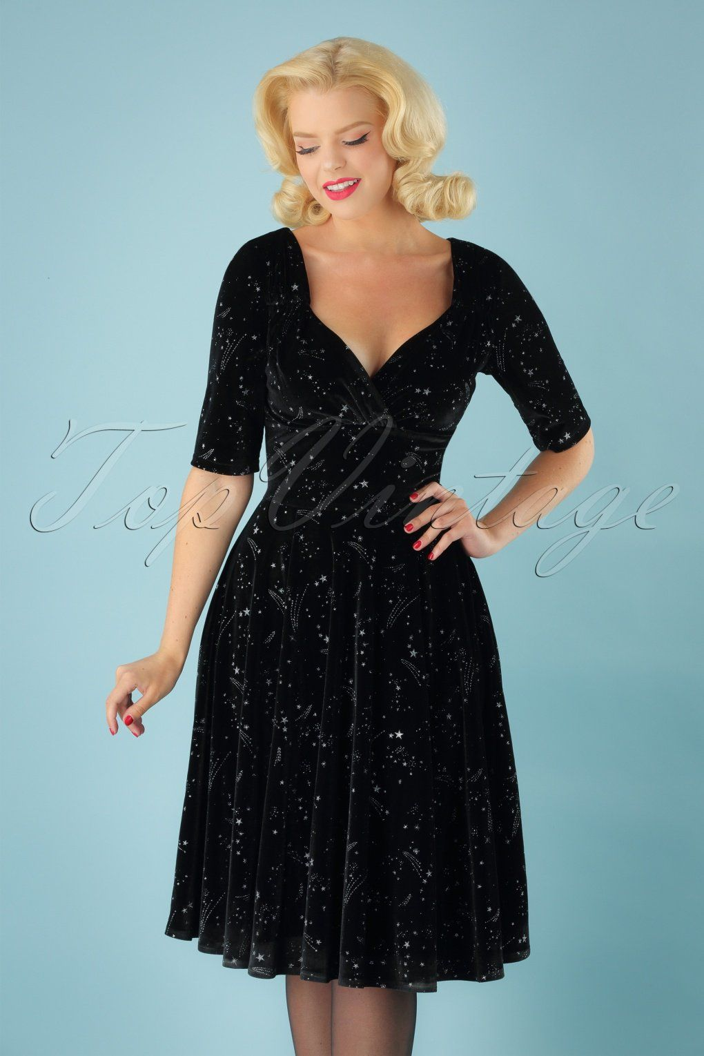 You ll be the brightest star in the sky in this 50s Trixie Make A Wish Doll Dress  in Black! The fitted top features half-length sleeves 5807eb3e2