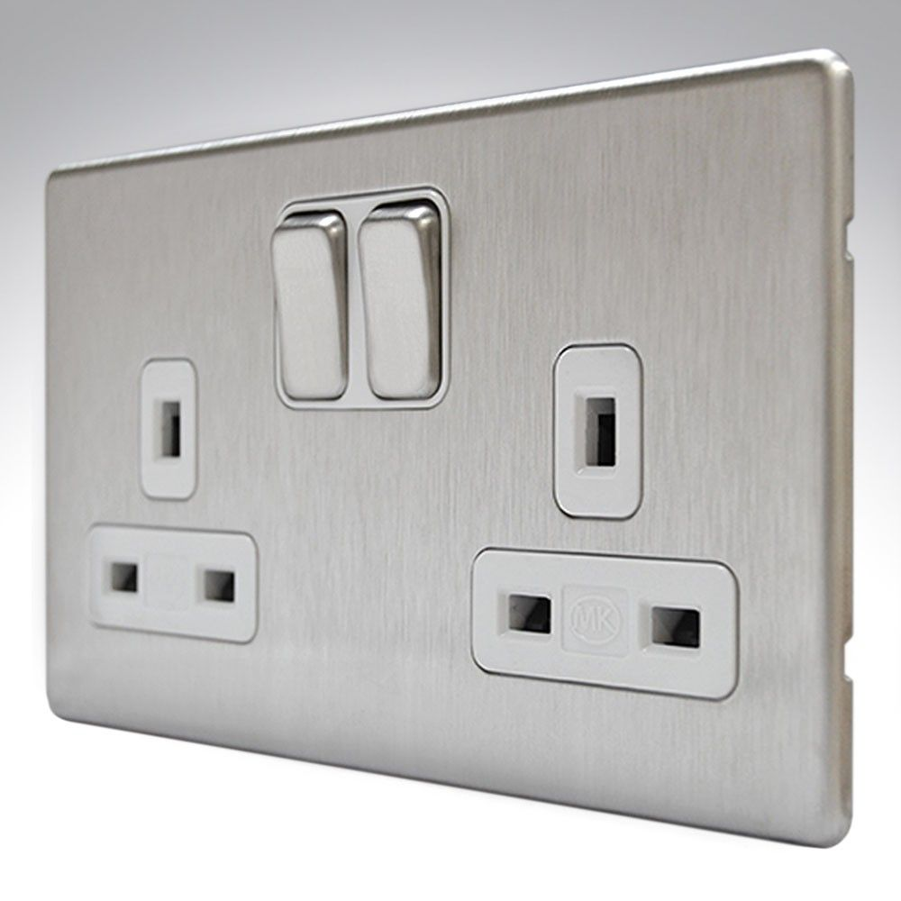 mk aspect brushed steel double socket also available in white 25 rh pinterest com Arrow Hart Wiring Devices Wiring Device Manufacturers