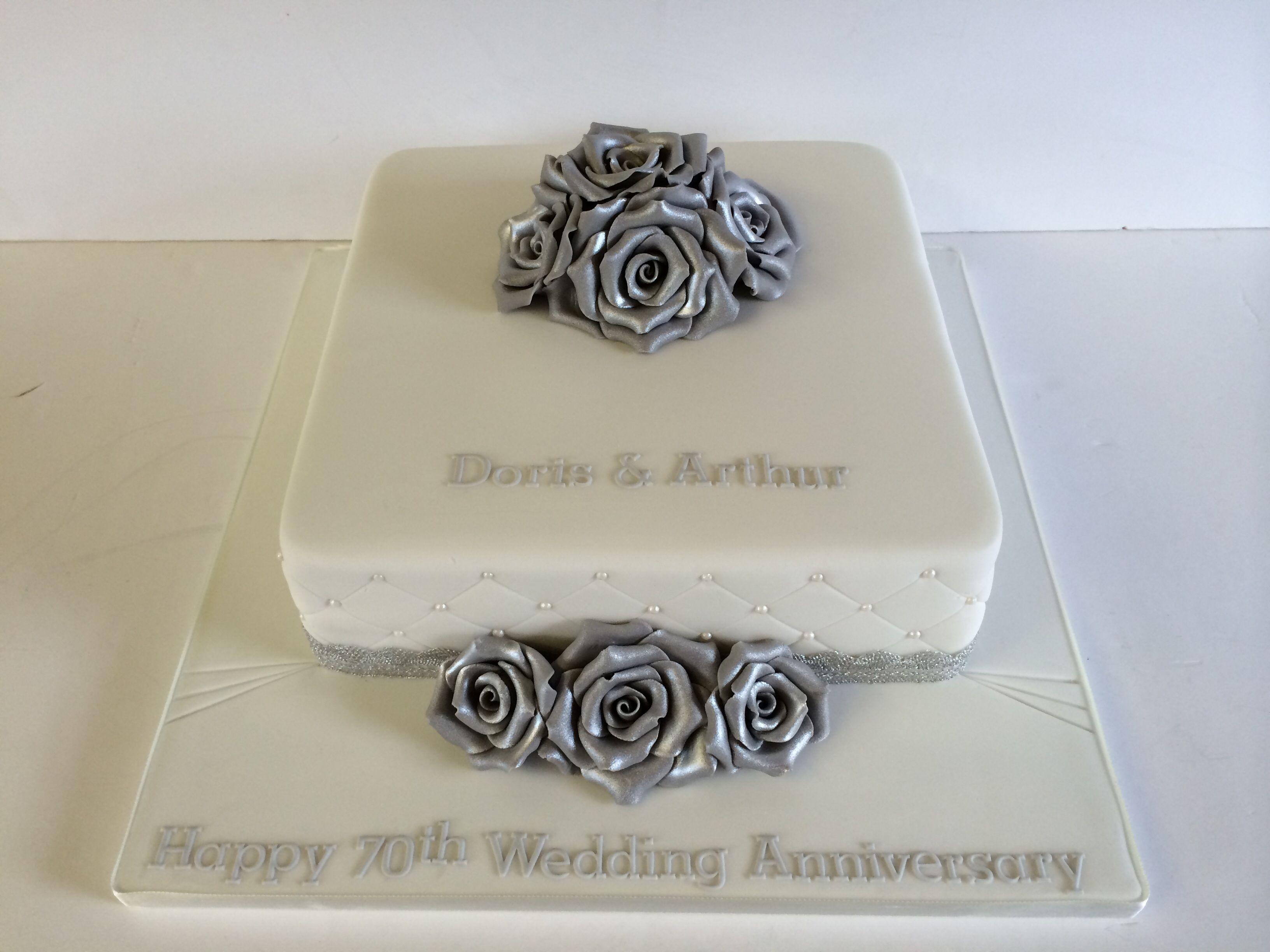 70th Wedding Anniversary Cake #platinum #silver #roses