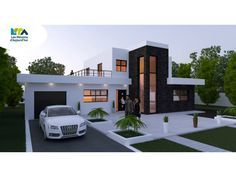 Plan maison contemporaine 161m2 5 pièces 4 chambres Garage | eingang ...