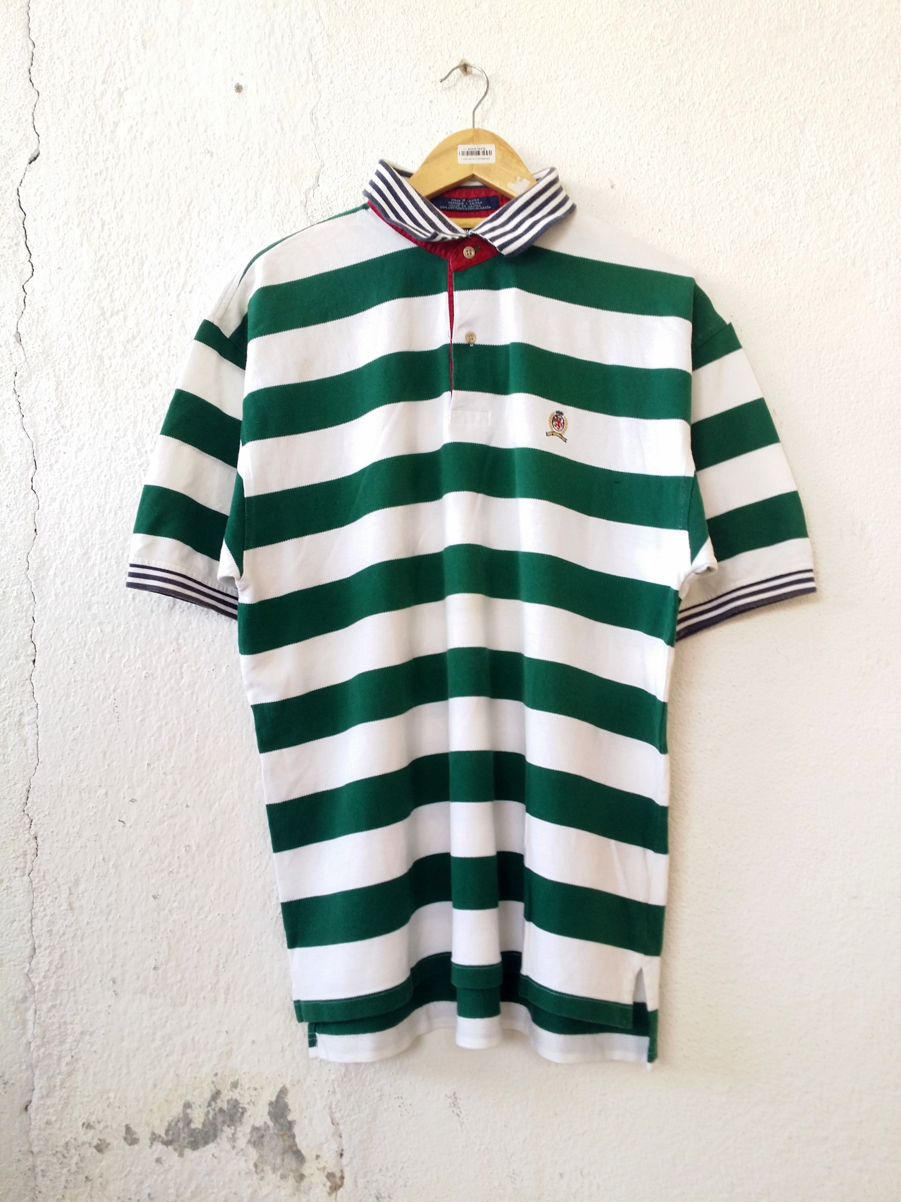 ffcca2b772 Tommy Hilfiger Polo Shirt Stripe Urban Style Tee Size L