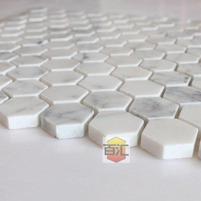 Carreaux De Marbre Blanc De Carrare Mosaique Hexagonale Brillant Petites Pieces Dans De Sur Alie Carrelage Mosaique Decoration Escalier Carrelage Marbre Blanc