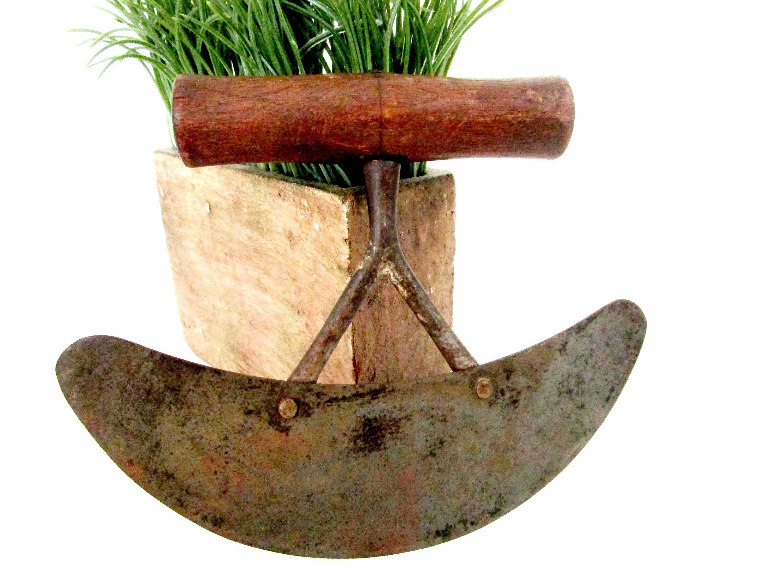 Antique Herb Chopper, Herb Slicer, Large Wooden Handle, Double Bridge,  Large Rocking