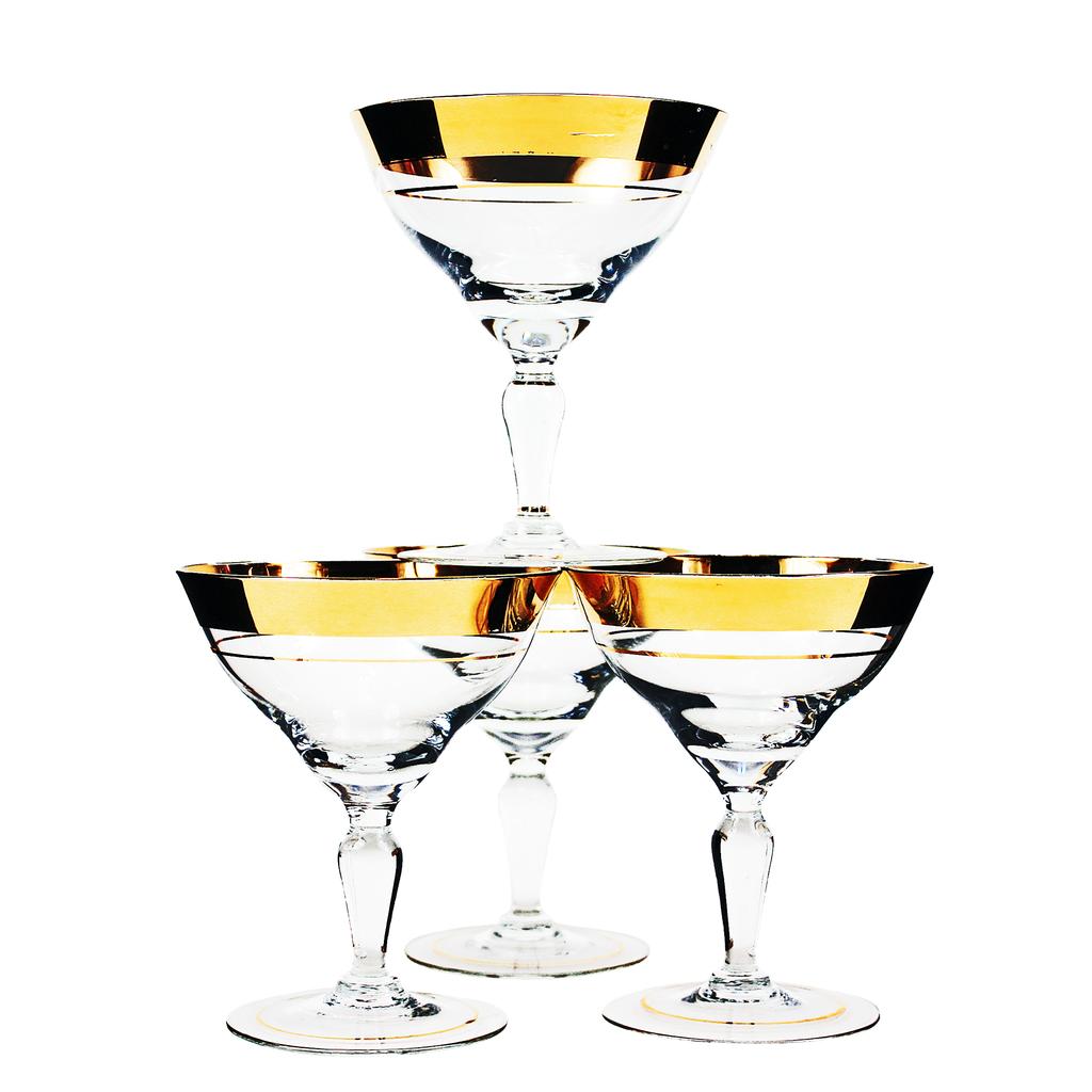 Set 4 Champagne Coupes 22k Gold Bands Vintage Crystal