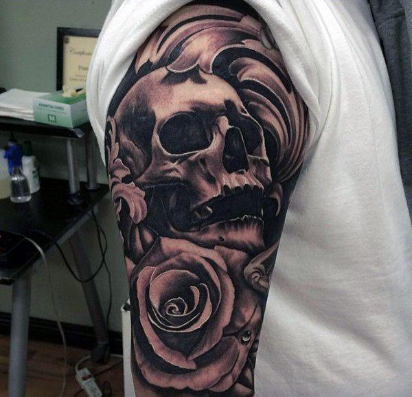 Male Black Ink Skull And Rose Flower Sleeve Tattoo Jpg 600 578 Pixels Black Ink Tattoos Tattoo Designs Men Half Sleeve Tattoos Color