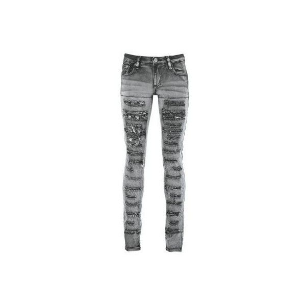 PLAYME | LACE JEANS [COLOR: DARK GREY] | GIRLIE JEANS | Pants, long |... ($84) ❤ liked on Polyvore featuring jeans, pants, bottoms, skinny jeans, dark gray jeans, cotton skinny jeans, lace jeans and heavy metal jeans