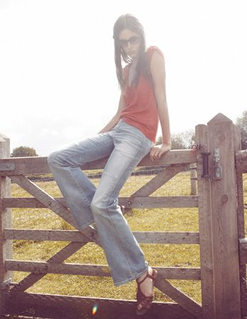MiH Jeans SS12 campaign featuring Ruby Aldridge in Corky Sage Patchwork and the Deep Vee Tee Cherry Splatter.