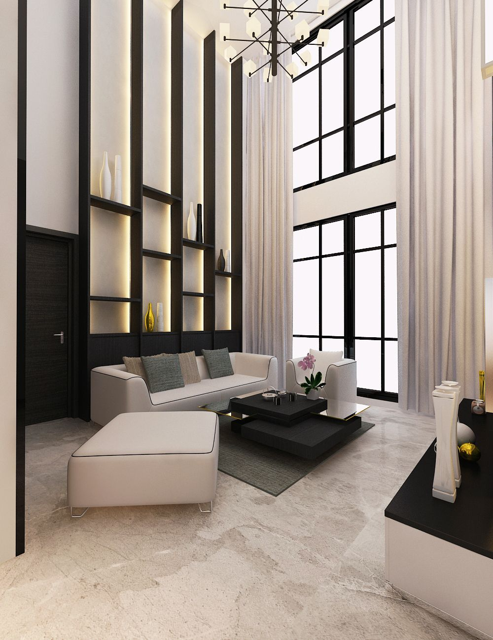 Private House Bsd Indonesia High Ceiling Living Room Wall Decor Living Room Modern Tiny House Interior Design Decorative ceilings living room
