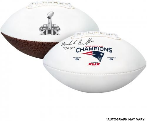 6d789959913 Malcolm Butler New England Patriots Autographed Super Bowl XLIX Champions White  Panel Football with