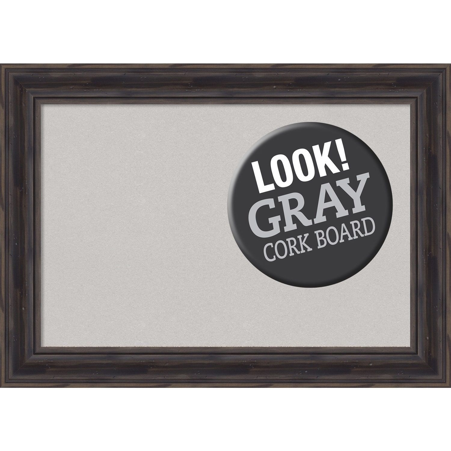 Amanti Art Framed Grey Cork Board, Rustic Pine (large - 34 x 26 ...