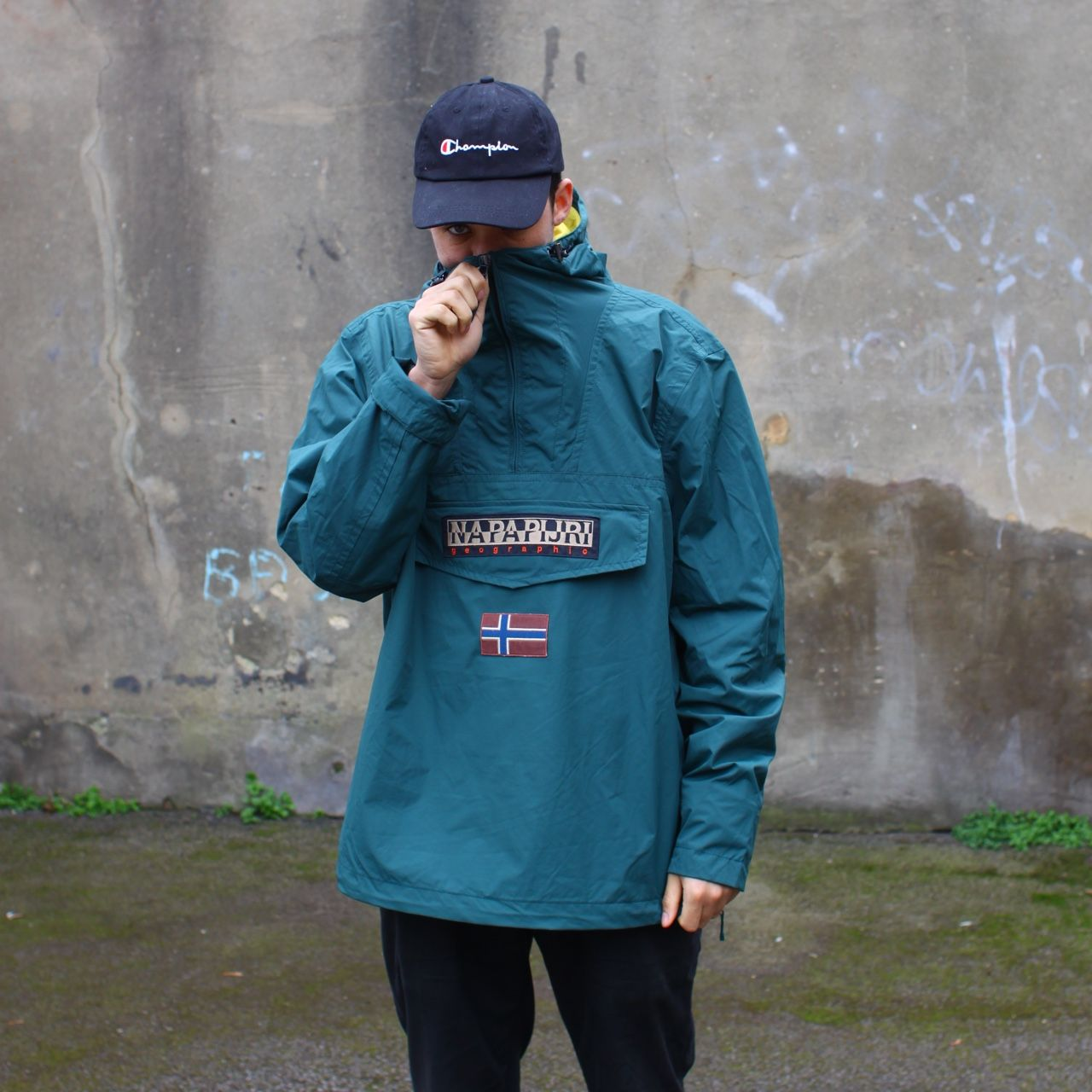 76350cecd7861 Napapijri quarter-zip Jacket!! In a natural mountain green colourway!! Size  XXL but more of a L/XL model is just under 6ft