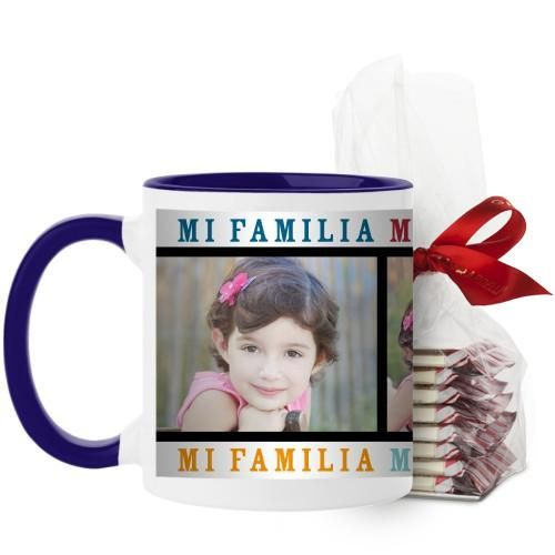 Mi Familia Mi Vida Mi Felicidad Mug, Blue, with Ghirardelli Peppermint Bark, 11 oz, White