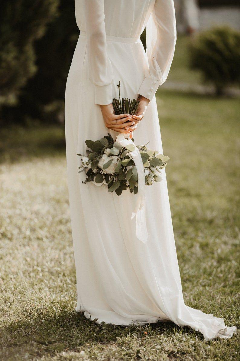 Chiffon Wedding Dress Romantic Wedding Dress With Long Sleeves A Line Bridal Dress With V Neckline Bohemian Wedding Dress Elegant Dress In 2021 Wedding Dresses Romantic Chiffon Wedding Dress Wedding Dresses [ 1191 x 794 Pixel ]