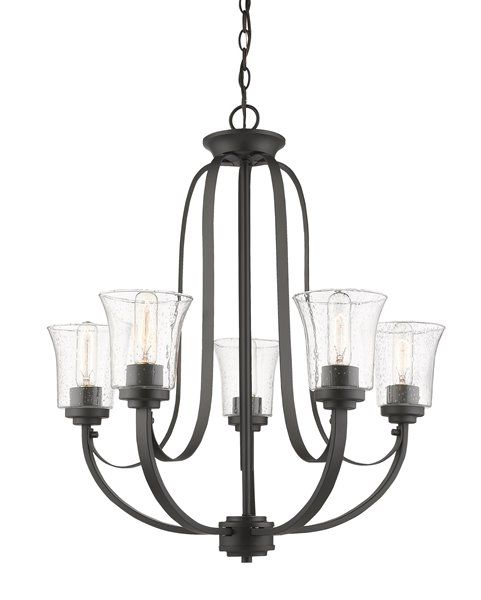 Seeded Glass Chandelier Bronze 5 Lt