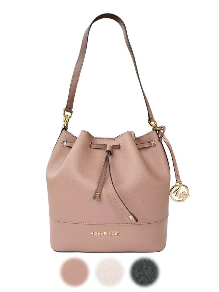 26b133721788 Michael Kors Trista Medium Bucket Bag Dusty Rose Black Saffiano Leather # MichaelKors. Find this Pin and more on Michael Kors Handbags ...